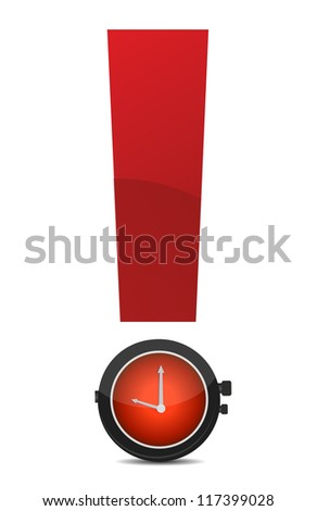 exclamation and watch illustration design over white background - stock photo