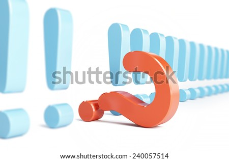 exclamation mark and question mark a white background  - stock photo