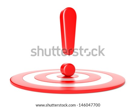 exclamation  mark and target isolated on a white background - stock photo