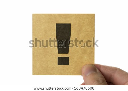 Exclamation mark icon, brown stick note isolated on white background - stock photo