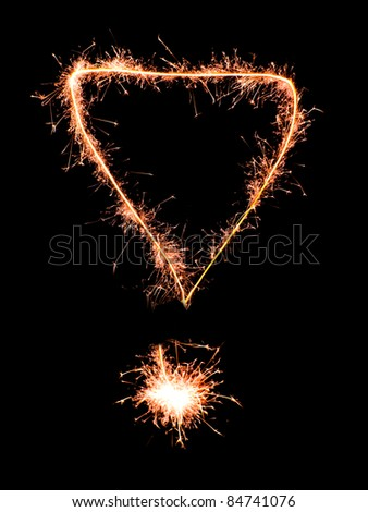 Exclamation mark .Real sparkler alphabet