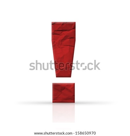 exclamation mark red wrinkled paper - stock photo