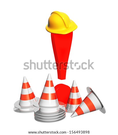 Exclamation mark, road cones and hat. Objects isolated oh white background - stock photo