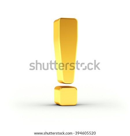 Exclamation mark symbol as a polished golden object over white background with clipping path for quick and accurate isolation.