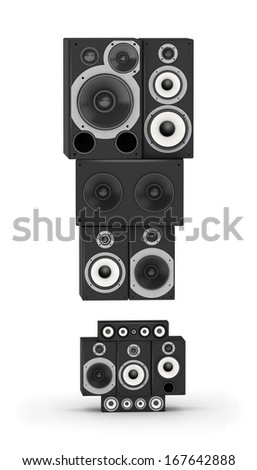 Exclamation point  from black woods hi-fi speakers sound systems - stock photo