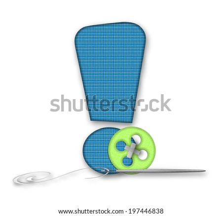 """Exclamation point, in the alphabet set """"Thread Bare"""" is blue tweed material.  It is decorated with colored buttons and a needle and thread. - stock photo"""