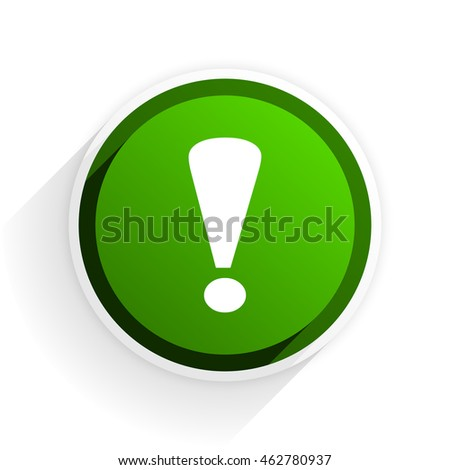 exclamation sign flat icon with shadow on white background, green modern design web element