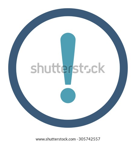Exclamation Sign raster icon. This rounded flat symbol is drawn with cyan and blue colors on a white background.