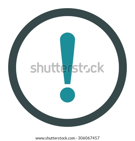 Exclamation Sign raster icon. This rounded flat symbol is drawn with soft blue colors on a white background.