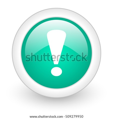 exclamation sign round glossy web icon on white background