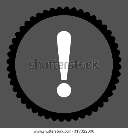 Exclamation Sign round stamp icon. This flat glyph symbol is drawn with black and white colors on a gray background. - stock photo