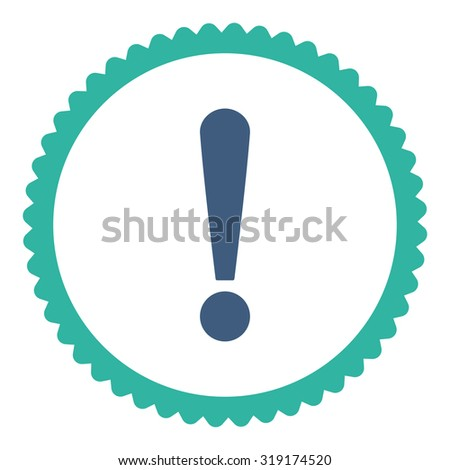 Exclamation Sign round stamp icon. This flat glyph symbol is drawn with cobalt and cyan colors on a white background. - stock photo