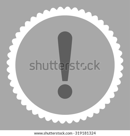 Exclamation Sign round stamp icon. This flat glyph symbol is drawn with dark gray and white colors on a silver background. - stock photo