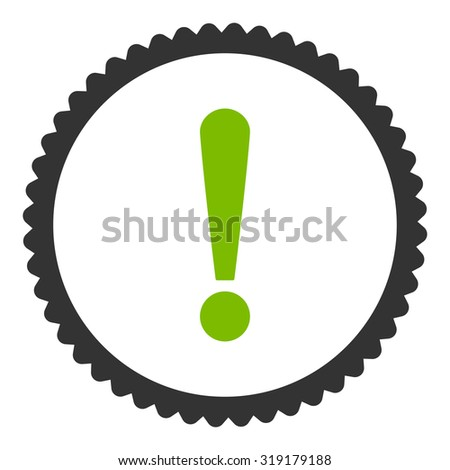 Exclamation Sign round stamp icon. This flat glyph symbol is drawn with eco green and gray colors on a white background. - stock photo