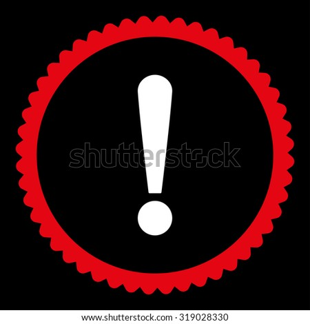 Exclamation Sign round stamp icon. This flat glyph symbol is drawn with red and white colors on a black background. - stock photo