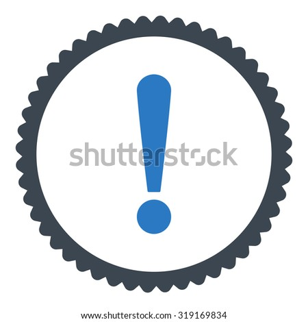 Exclamation Sign round stamp icon. This flat glyph symbol is drawn with smooth blue colors on a white background. - stock photo