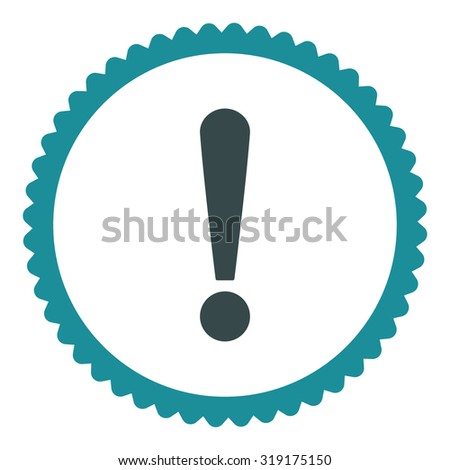 Exclamation Sign round stamp icon. This flat glyph symbol is drawn with soft blue colors on a white background. - stock photo