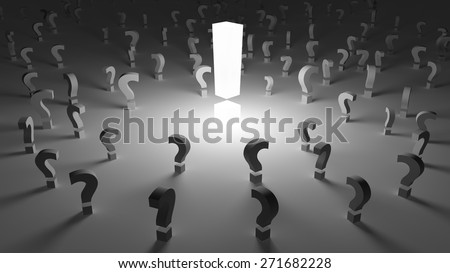 Exclamation sign surrounded by many question marks - stock photo