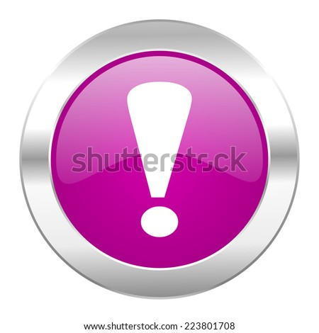 exclamation sign violet circle chrome web icon isolated