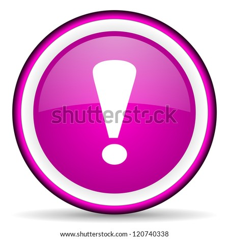 exclamation sign violet glossy icon on white background