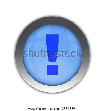 Exclamation symbol icon blue