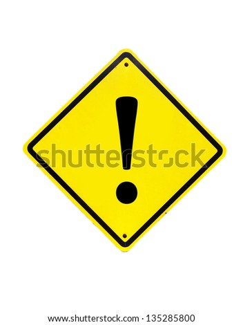 Exclamation Yellow Sign on white background - stock photo