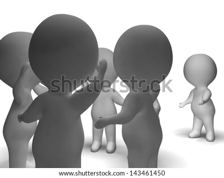 Excluded From Group 3d Character Shows Bullying - stock photo