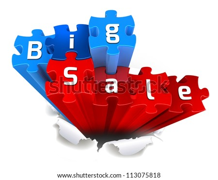 exclusive BIG SALE puzzle and torn paper - stock photo