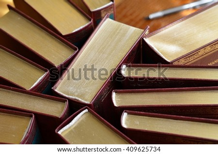 Exclusive editions of books - stock photo