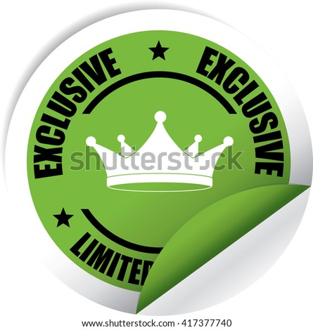 Exclusive Limited Edition Green Label, Sticker, Tag, Sign And Icon Banner Business Concept, Design Modern. - stock photo