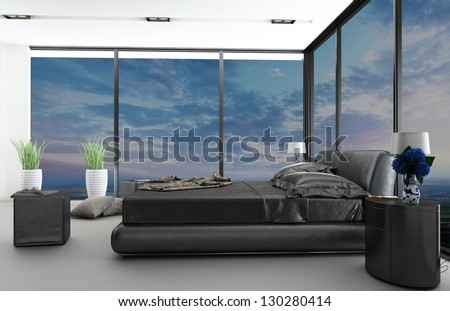 Exclusive Modern Design Bedroom with aerial view - stock photo