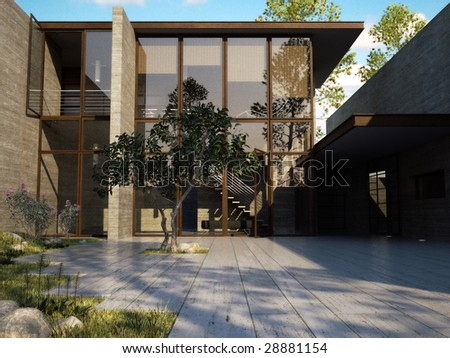 Exclusive modern house in a warm southern region (3D render) - stock photo