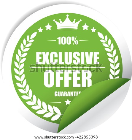 Exclusive offer Green Label, Sticker, Tag, Sign And Icon Banner Business Concept, Design Modern. - stock photo