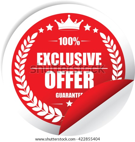 Exclusive offer Red Label, Sticker, Tag, Sign And Icon Banner Business Concept, Design Modern. - stock photo