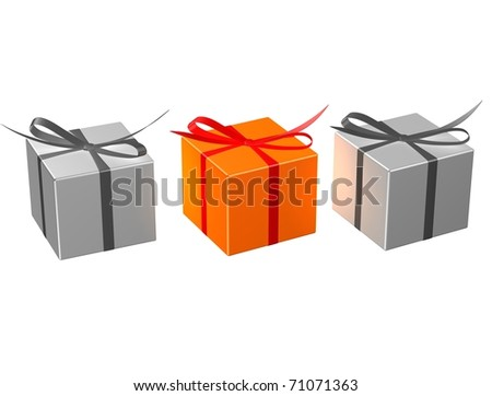 Exclusive orange present on white isolated background. 3d render.