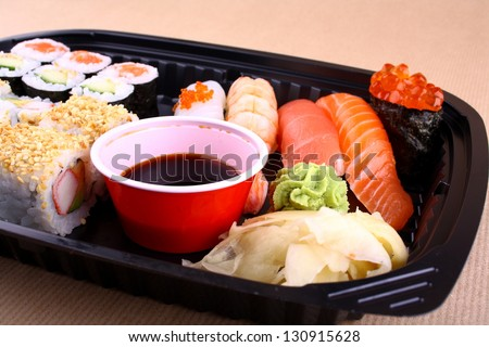 Exclusive sushi menu in your Delivery closeup