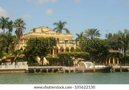 Exclusive waterfront real estate in Miami, Florida with private dock - stock photo