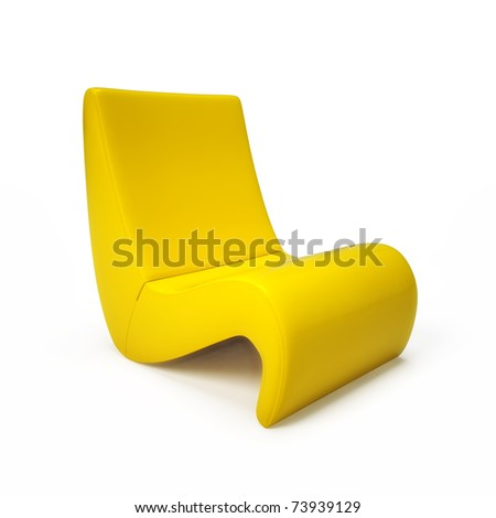 Exclusive yellow armchair isolated on white - stock photo