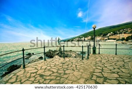 Excursion path lungomare along the Adriatic coast. Croatia. Opatija - stock photo