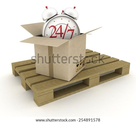 Executing online delivery of goods in the stream 24 hours. Logistics concept - stock photo
