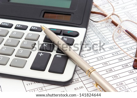 Execution mathematical and financial calculation. Table with result - stock photo