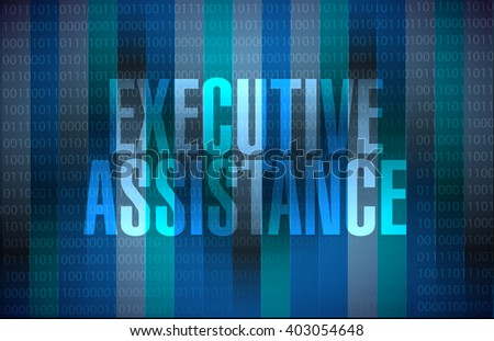 executive assistance binary sign concept illustration design graphic - stock photo