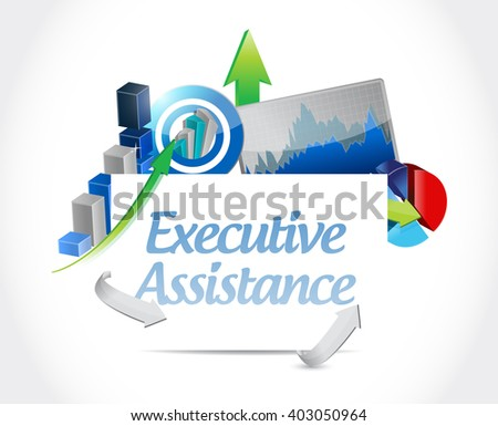 executive assistance business charts sign concept illustration design graphic - stock photo