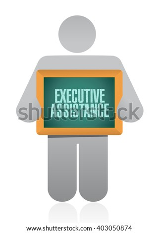 executive assistance chalkboard sign concept illustration design graphic - stock photo