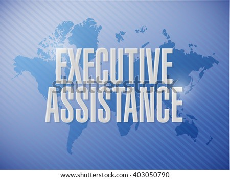 executive assistance world map background sign concept illustration design graphic - stock photo