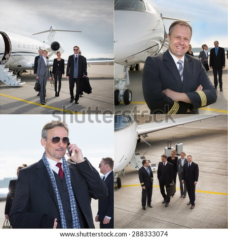 executive business team corporate jet - business travel - stock photo