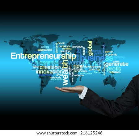 "Executive hand hold-""Entrepreneurship word cloud arrangement"" - stock photo"
