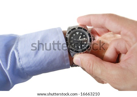 Executive hand holding a wrist watch isolated on white