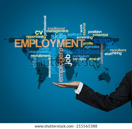 "Executive hold -""EMPLOYMENT word cloud arrangement"" - stock photo"