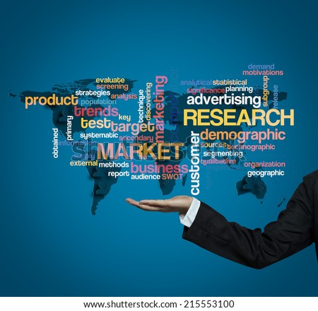 "Executive hold-""market research word cloud arrangement"" - stock photo"
